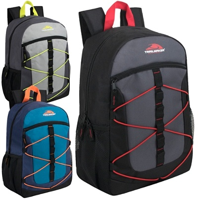 Trailmaker Equipment Bungee Backpacks, Assorted Colors, Case Of 24  Backpacks Item # 6915708