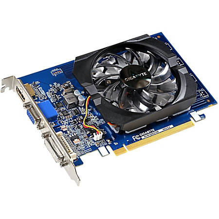 Gigabyte Ultra Durable 2 GV-N730D3-2GI (rev. 2.0) GeForce GT 730 Graphic Card - 902 MHz Core - 2 GB DDR3 SDRAM - 64 bit Bus Width - Fan Cooler - DirectX 12, OpenGL 4.4 - 1 x HDMI - 1 x VGA - 1 x Total Number of DVI (1 x DVI-D) - Dual Link DVI Supported