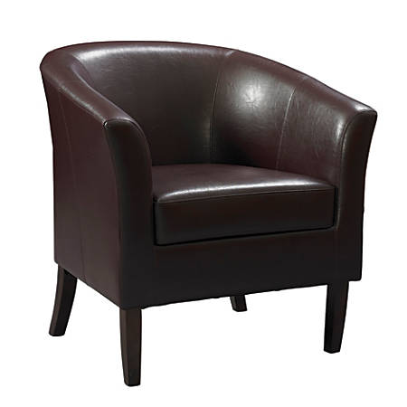 Linon Home Décor Simon Club Chair, Blackberry/Dark Walnut