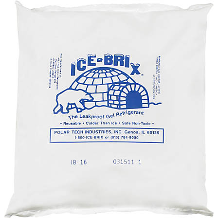 "Ice-Brix™ Cold Packs, 16 oz, 6 1/4"" x 6"" x 1"", Box Of 18"