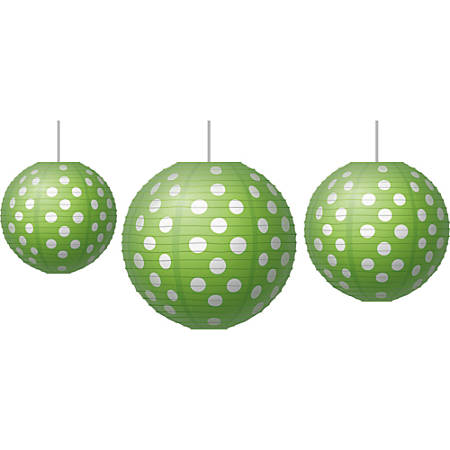 Teachers Created Resources Paper Lanterns, Polka Dots, Lime Green/White, Grades Pre-K - 8, Pack Of 3