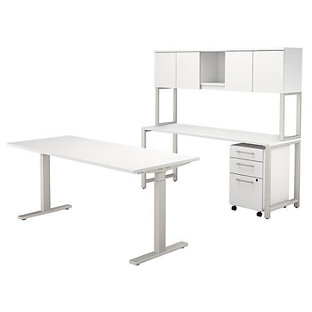 "Bush Business Furniture 400 Series 72""W x 30""D Height Adjustable Standing Desk with Credenza, Hutch and Storage, White, Premium Installation"