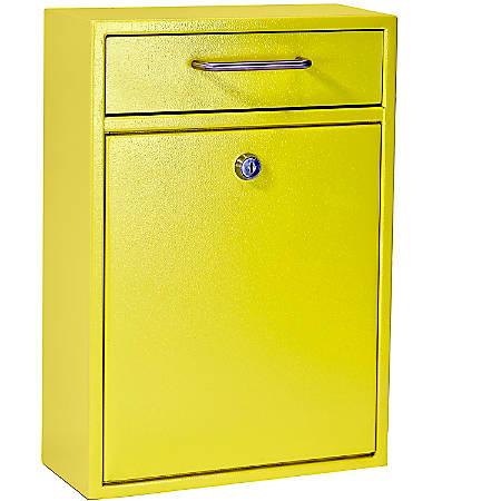 "Mail Boss Locking Security Drop Box, 16-1/4""H x 11-1/4""W x 4-3/4""D, Yellow"