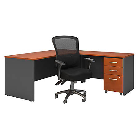 "Bush Business Furniture Components 72""W L-Shaped Desk With Mobile File Cabinet And High-Back Multifunction Office Chair, Auburn Maple/Graphite Gray, Standard Delivery"