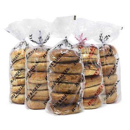Just Bagels Assorted Bagels, Assorted Flavors, 6 Bagels Per Pack, Case Of 5 Packs