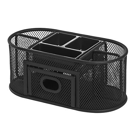 Lorell® Mesh Deluxe Desktop Organizer, Black