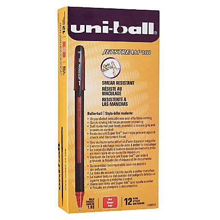 uni-ball® Jetstream™ 101 Rollerball Pens, Medium Point, 1.0mm, Assorted Barrels, Red Ink, Pack Of 12