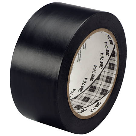 "3M™ 764 Vinyl Tape, 3"" Core, 2"" x 36 Yd., Black, Case Of 6"