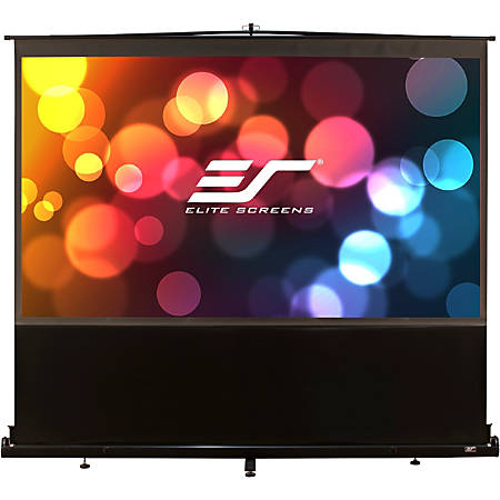 Elite ez-Cinema F150NWH - Projection screen with floor stand - 150 in (150 in) - 16:9 - MaxWhite - black