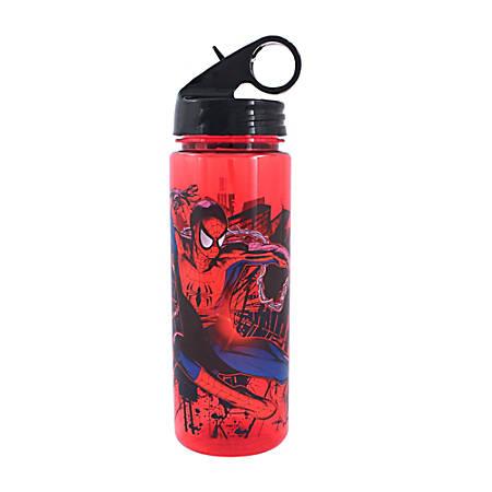 MARVEL Spider-Man Flip-Straw Water Bottle, 20 Oz, Red