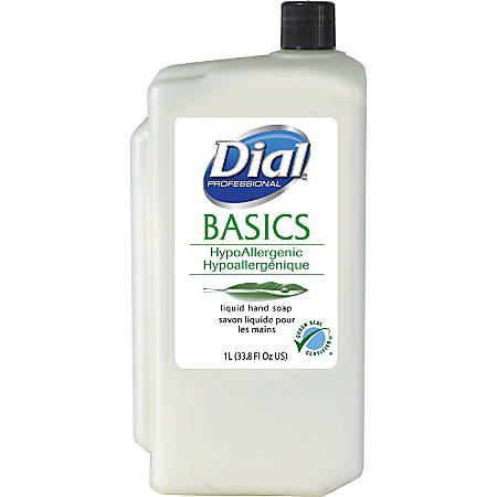 Dial Basics HypoAllergenic Hand Soap Refill - Fresh Floral Scent - 33.8 fl oz (1000 mL) - Kill Germs - Hand - White - Hypoallergenic, Anti-bacterial - 8 / Carton