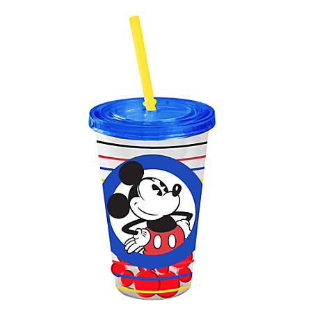 Plastic Cold Cup With Shaped Ice Cubes, 16 Oz, Disney Mickey Mouse Circle Stripes