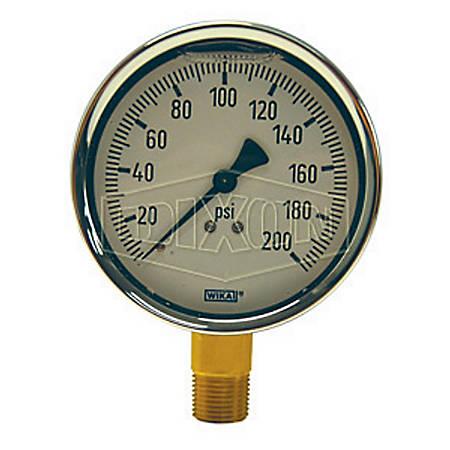 Dixon® Brass Lower Mount Liquid-Filled Gauges, Pack Of 3 Gauges