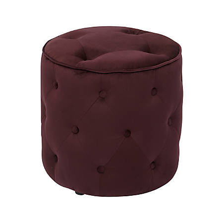 Ave Six Curves Tufted Round Ottoman, Port