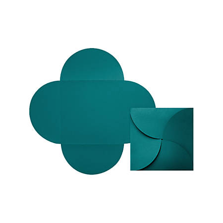"LUX Petal Invitations, 6 1/4"" x 6 1/4"", Teal, Pack Of 50"