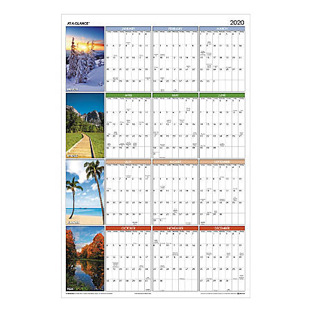 "AT-A-GLANCE® Seasons In Bloom Yearly Reversible Erasable Wall Calendar, 36"" x 24"", Multicolor, January To December 2020, PA133"