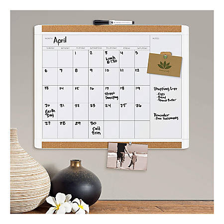 "U Brands PINIT Magnetic Dry-Erase Calendar Board, Painted Steel, 20"" x 16"", White, Plastic Frame"