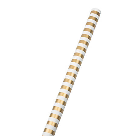 JAM Paper® Wrapping Paper, Striped, 25 Sq Ft, Gold & White