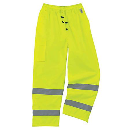Ergodyne GloWear® 8915 Class E Polyester Rain Pants, 2X, Lime