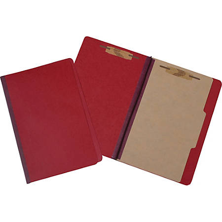 Pressboard Classification Folder, 4-Part, Legal Size, Red (AbilityOne), Pack Of 10