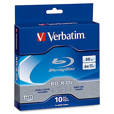 Verbatim BD-R DL 50GB 6X with Branded Surface - 10pk Spindle Box - 50GB - 10pk Spindle Box