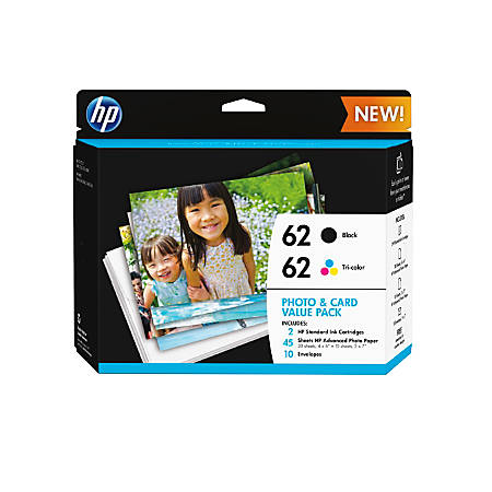HP 62 Black And Tri-color Original Ink Cartridges With Photo Paper And Envelopes, Pack Of 2 (K3W67AN)
