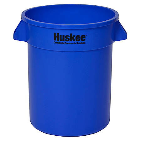 "Continental Huskee Wall Hugger Round Poly Resin Trash Can, 20 Gallons, 22-1/2"" x 22"", Blue"