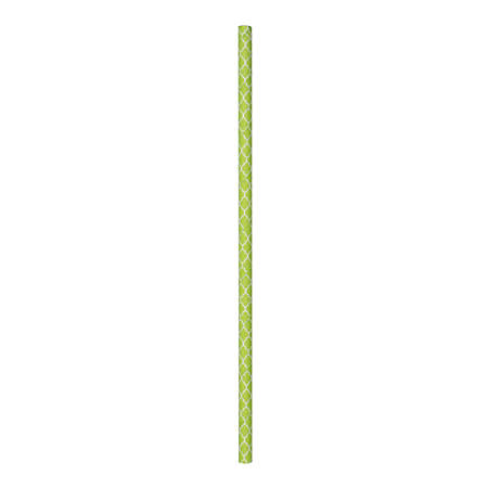"Simply Baked Paper Straws, 8"", Quatrefoil, Lime Green, Case Of 500 Straws"