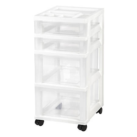 "IRIS Rolling Plastic Storage Cart, 4 Drawers, 26-7/16""H x 12-1/16""W x 14-1/4""D, White"