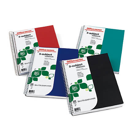 """Office Depot® Brand FSC Certified Notebook, 9"""" x 11"""", 5 Subject, College Ruled, 200 Sheets, Assorted Colors"""