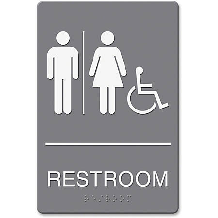 """HeadLine Restroom/Wheelchair Image Indoor Sign - 1 Each - Restroom (Man/Woman/Wheelchair) Print/Message - 6"""" Width x 9"""" Height - Rectangular Shape - Double-sided - Plastic - Gray, White"""