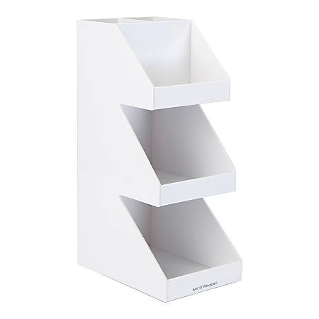 "Mind Reader Fancy Acrylic 3-Tier Condiment Organizer, 15 5/8""H x 6""W x 7 1/4""D, White"