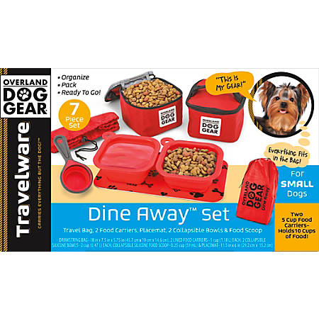 "Overland Dog Gear Dine Away Bag For Small Dogs, 7-1/2""H x 5-3/4""W x 18""D, Red"