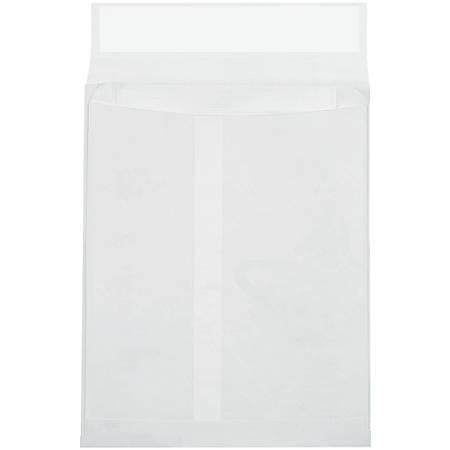 """Tyvek® Envelopes, 9"""" x 12"""" x 2"""", End Opening, Plain White, Pack Of 100"""