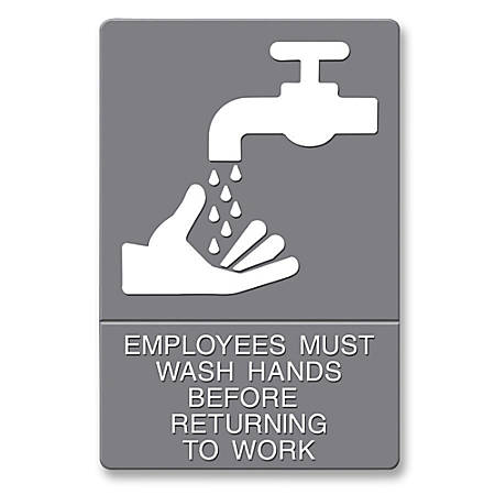 """U.S. Stamp & Sign ADA Sign, 6"""" x 9"""", """"Employees Must Wash Hands"""", Gray/White"""