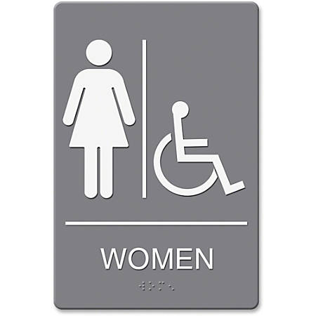 "HeadLine Women/Wheelchair Image Indoor Sign - 1 Each - women's restroom/wheelchair accessible Print/Message - 6"" Width x 9"" Height - Rectangular Shape - Double-sided - Plastic - Gray, White"