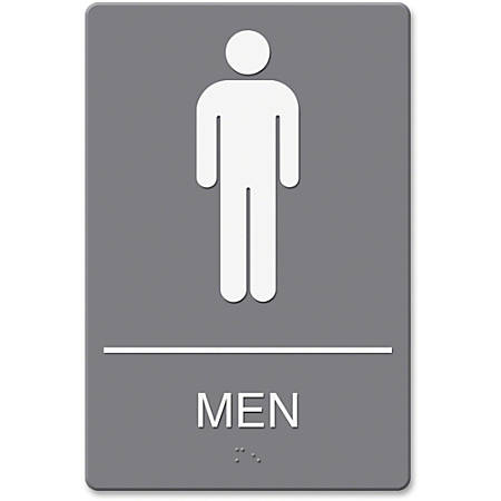 "HeadLine ADA Men's Restroom Sign with Symbol - 1 Each - Men Print/Message - 6"" Width x 9"" Height - Rectangular Shape - White Print/Message Color - Adhesive, Double-sided - Gray"