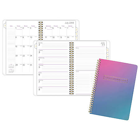 """AT-A-GLANCE® Ariel Premium 13-Month Weekly/Monthly Planner, 5 1/2"""" x 8 1/2"""", 30% Recycled, Multicolor, July 2018 to July 2019"""