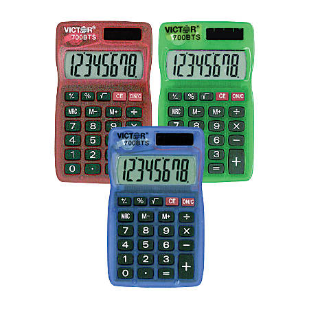 Victor® Dual-Power Pocket Calculators, Pack Of 5