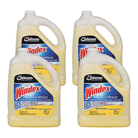 Windex® Multi-Surface Disinfectant Cleaner, Citrus, 1 Gallon, Pack Of 4
