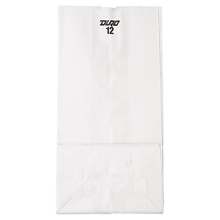 """General Paper Grocery Bags, #12, 13 3/4""""H x 7 1/16""""W x 4 1/2""""D, White, Pack Of 500 Bags"""