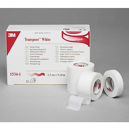 """3M™ Transpore™ White Tape, 1"""" x 10 Yd., Pack Of 12"""