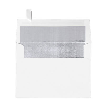 "LUX Invitation Envelopes With Peel & Press Closure, A7, 5 1/4"" x 7 1/4"", Silver/White, Pack Of 1,000"