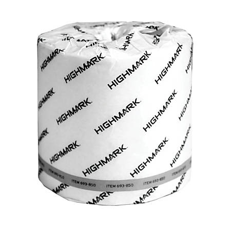Highmark® 2-Ply Bathroom Tissue, 100% Recycled, White, 550 Sheets Per Roll, Case Of 40 Rolls