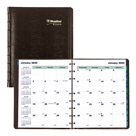 """Blueline® Miraclebind™ 17-month Planner, Twin-wire Binding With Soft Lizard-Like Cover, 9-1/4"""" x 7-1/4"""", Black, August 2019 To December 2020"""