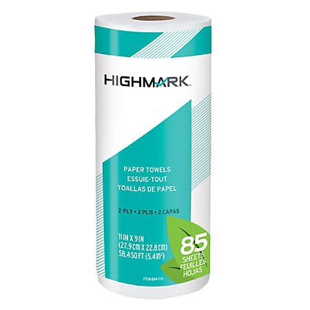 "Highmark® Brand 100% Recycled 2-Ply Paper Towels, 11"" x 9"", 85 Sheets Per Roll, Case Of 15 Rolls"