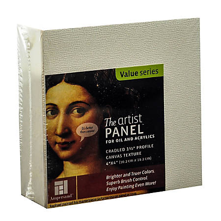 "Ampersand Artist Panel Canvas Texture Cradled Profile, 4"" x 4"", 1 1/2"", Pack Of 2"