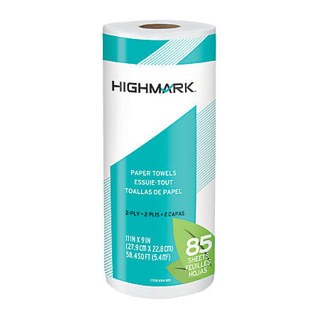 """Highmark® Brand 100% Recycled 2-Ply Paper Towels, 11"""" x 9"""", 85 Sheets Per Roll, Case Of 30 Rolls"""