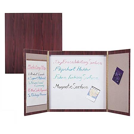 "Quartet Expandable Laminate Conference Room Cabinet, 48""H x 48""W, Mahogany"