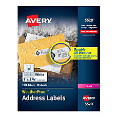 Avery WeatherProof Laser Address Labels With